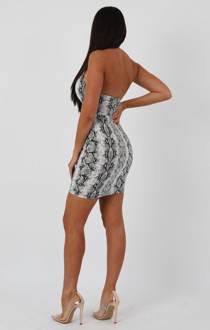 Animal Snake Print Halterneck Cut Out Tie Detail Bodycon Dress - Louisa