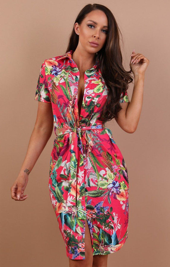 Fuchsia Tropical Print Belted Shirt Dress - Saphire