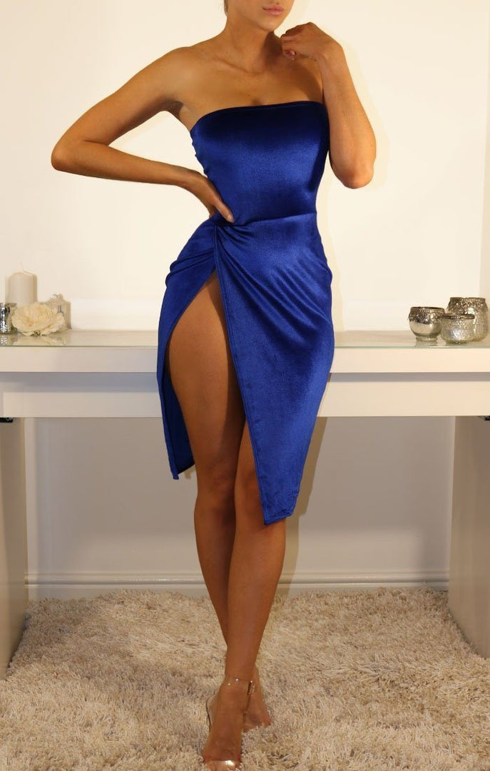 Blue Velvet Bandeau Side Split Mini Dress