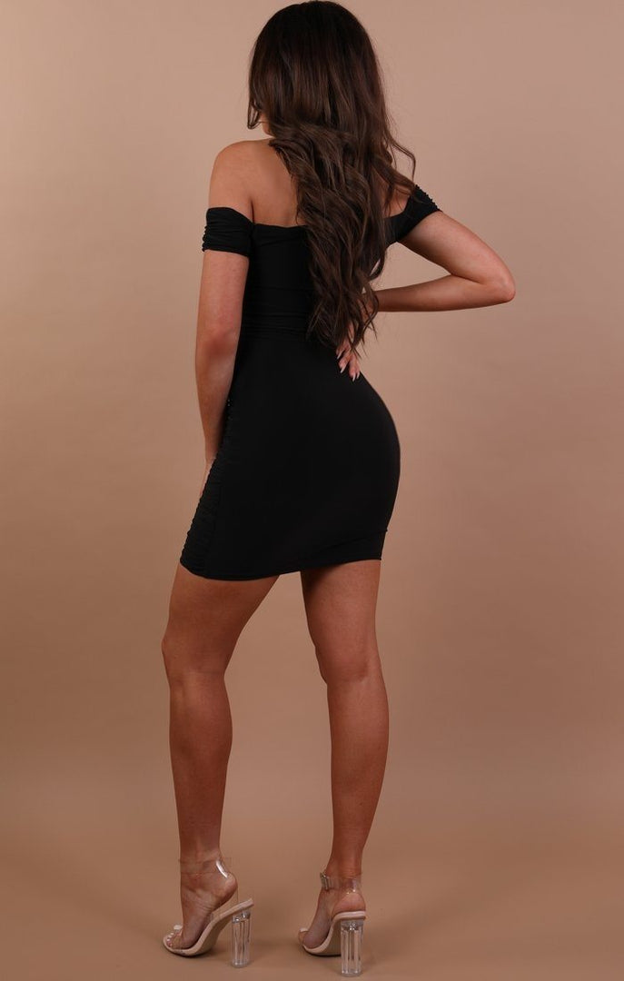 Black Slinky Ruched Bardot Dress - Carli