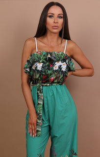 Green Tropical Print Jumpsuit - Gracey