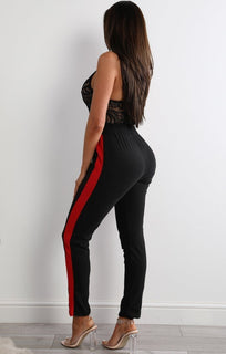 Black And Red Striped Trousers - Louise