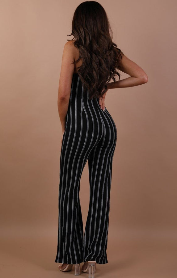 Black Striped Tie Waist Jumpsuit - Opal
