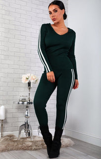 Green Stripe Detail Ribbed Loungewear Set - Phoebe