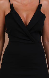 Black Collared Bodycon Mini Dress - Nina