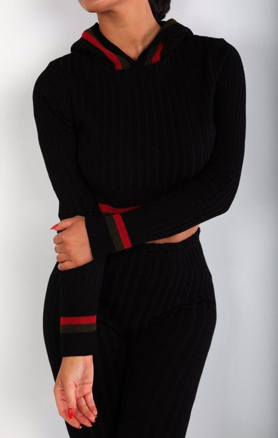 Black Cropped Stripe Detail Ribbed Loungewear Set