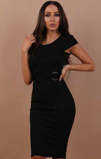 Black Sleeveless Ring Front Midi Dress - Emery