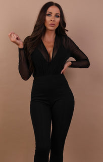 Black Mesh V-neck Bodysuit - Adeline