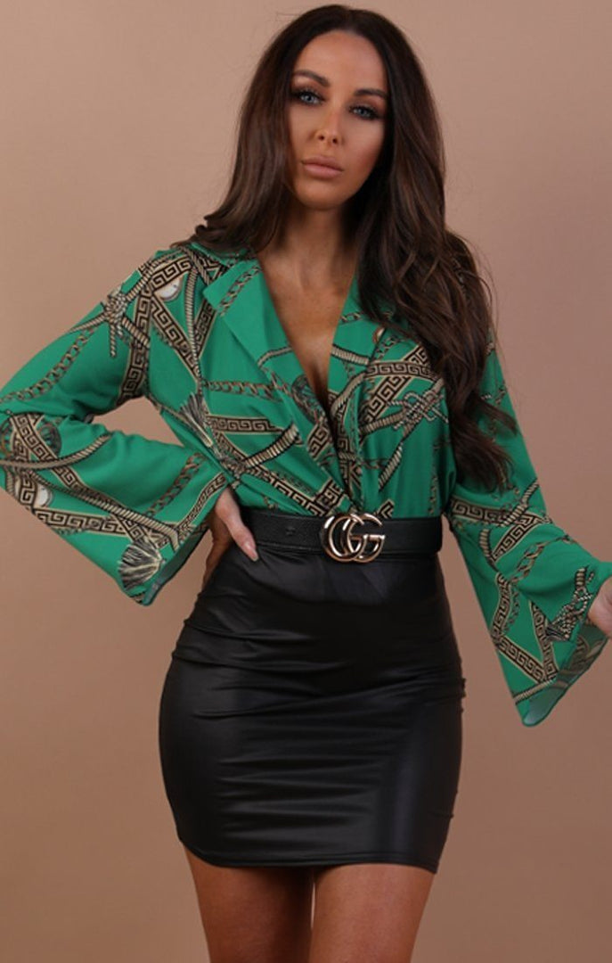 Green Scarf Print Bell Sleeve Bodysuit - Zoey