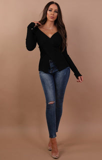 Black Cross Front Long Sleeve Top - Cara