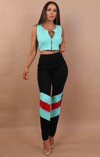 Aqua Contrast Two Piece Co-ord Set - Amelia
