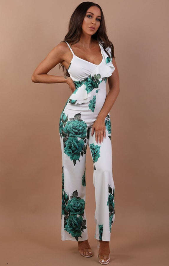 Green Floral Frill Jumpsuit - Libby