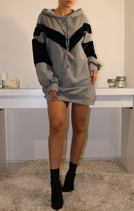Grey Oversized Faux Fur Hooded Jumper Dress