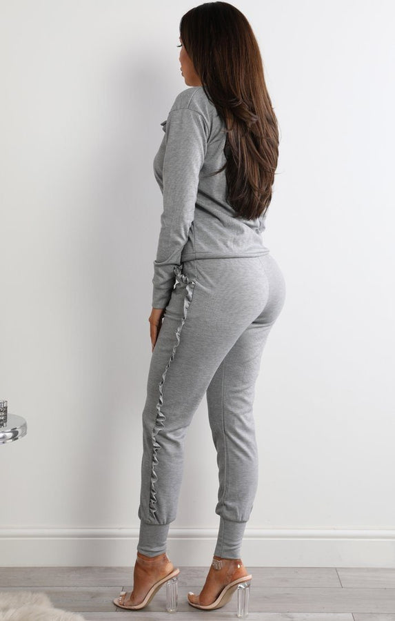 Grey Frill Loungewear Set - Faye