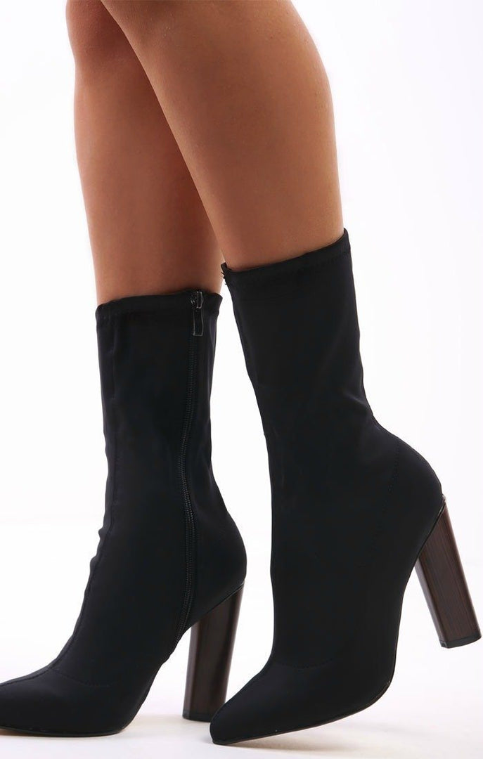Black Wooden Heel Sock Boots