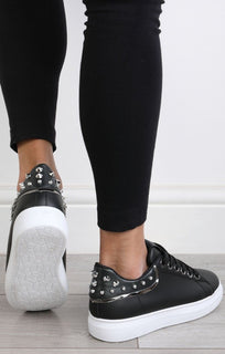Black Studded Back Trainers – Livvy