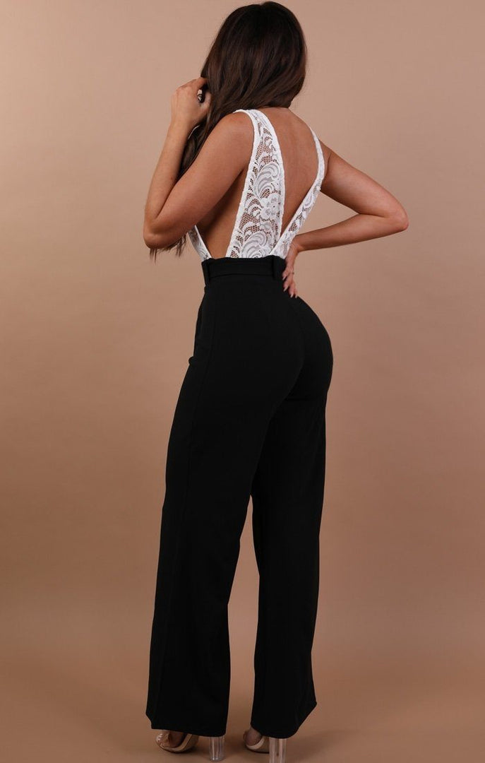 Black Jumpsuit With White Lace - Louella