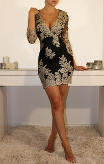 Black Gold-embroidered Bodycon Mini Dress
