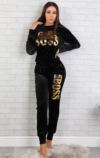 Black 'girl Boss' Loungewear Set – Kendra