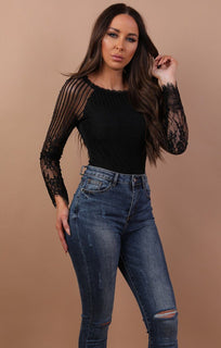 Black Floral Stripe Long Sleeve Bodysuit - Cailey
