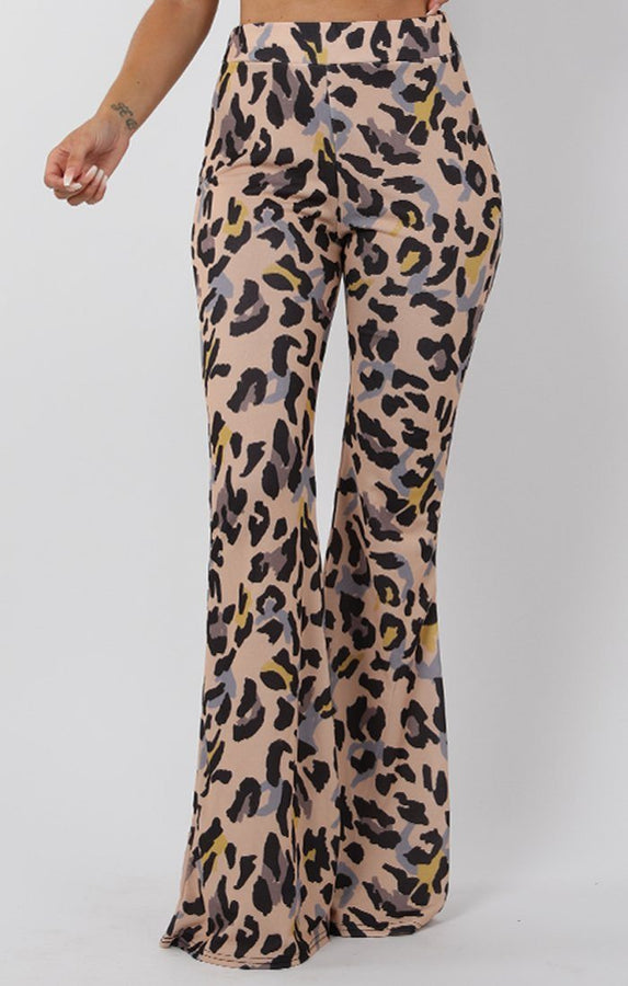 Beige Animal Leopard Print Fit and Flare Trousers - Alana
