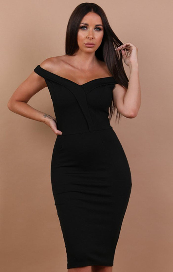 Black Bardot Bodycon Midi Dress - Shannon
