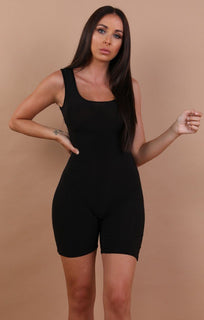Black Basic Sleeveless Playsuit - Faith