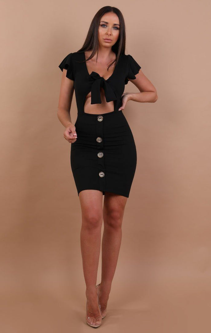 Black Bow Front Cut Out Mini Dress - Taliha