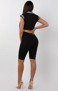 Black Contrast Trim Crop Top - Camara