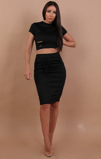 Black Distressed Jersey High Waist Skirt Two Piece Co-ord Set - Violetta sale FemmeLuxe