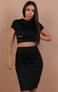 Black Distressed Jersey High Waist Skirt Two Piece Co-ord Set - Violetta