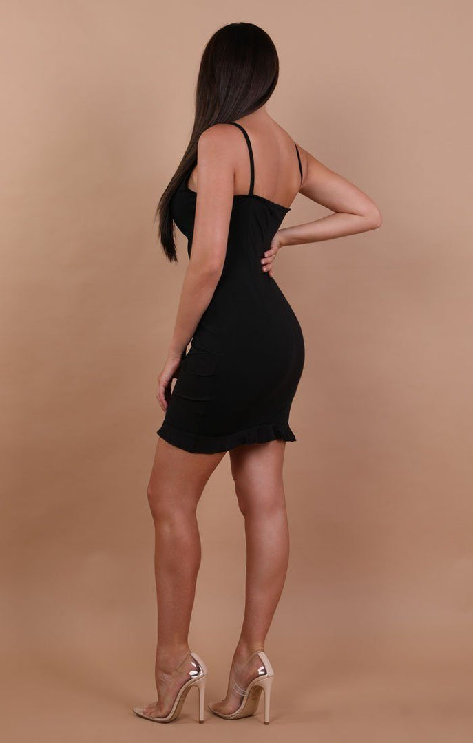 Black Frill Mini Bodycon Dress - Kelly