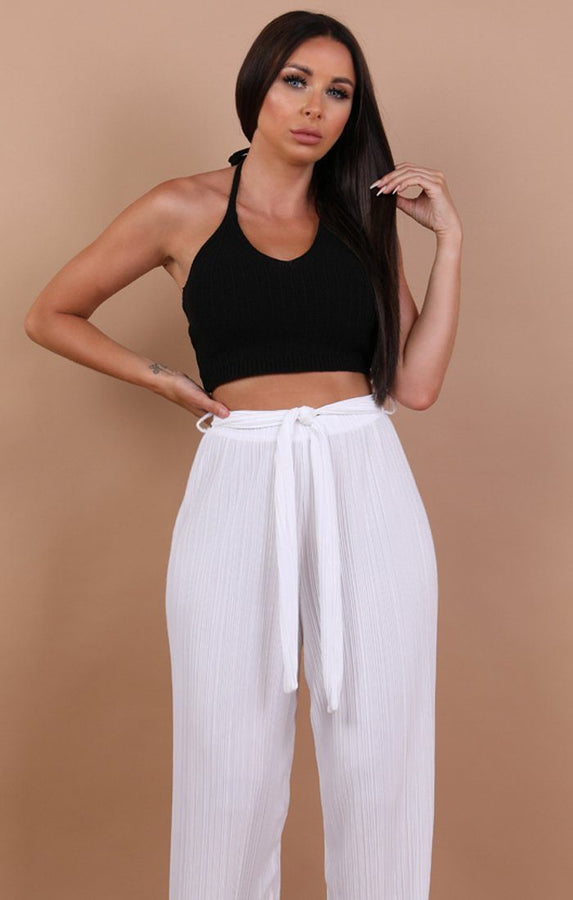 Black Knit Halterneck Crop Top - Autumn
