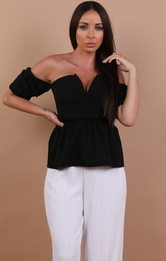 Black Off Shoulder Plunge Top - Beth