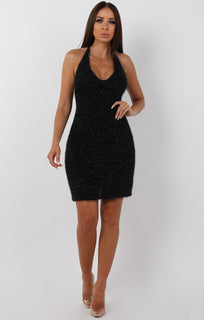 Black Sparkle Fluffy Halterneck Mini Dress - Zita