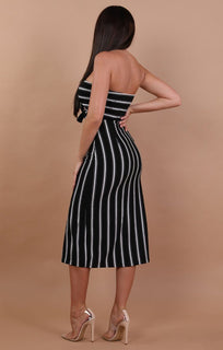 Black Striped Bodycon Midi Dress - Demi