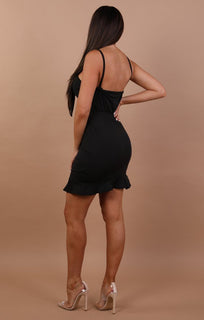 Black Tie Front Frill Mini Dress - Lindsay