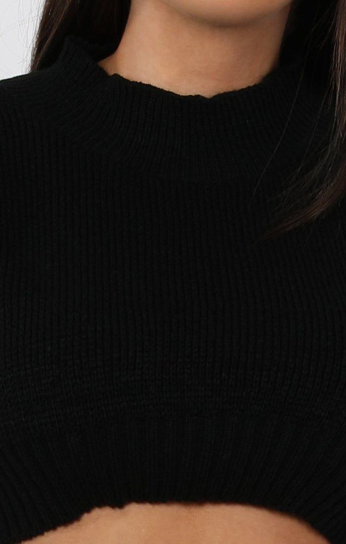 Black Cropped Knitted Jumper - Miah