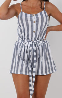Blue Striped Cami Two Piece Co-ord Set - Kiah