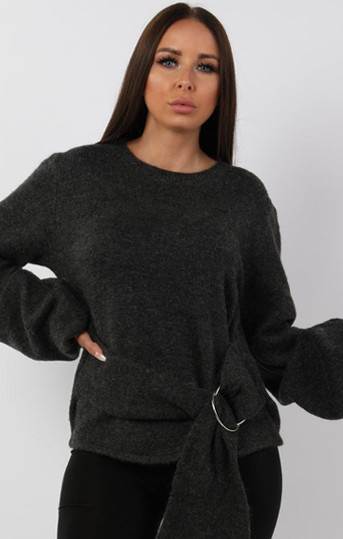 Charcoal Ring Belted Oversized Jumper - Braylee