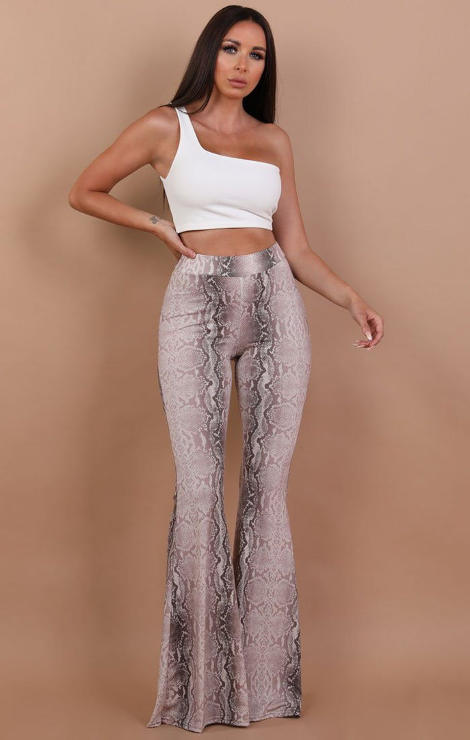 High Waisted Animal Snake Print Flared Trousers - Olivia