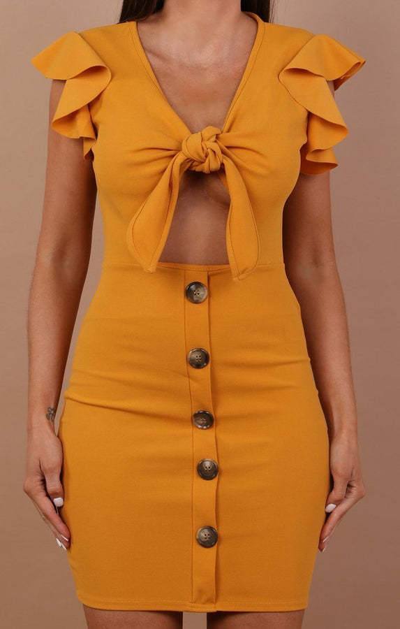 Bow Front Cut Out Mini Dress - Taliha