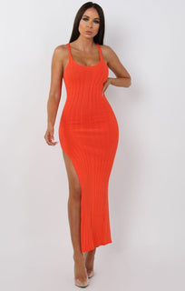 Orange Cami Knitted Side Split Maxi dress - Thea