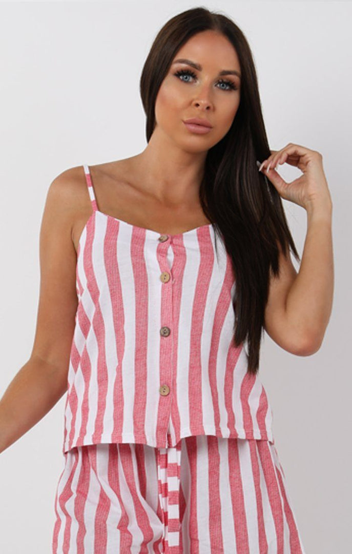 Coral Striped Cami Two Piece Co-ord Set - Kiah