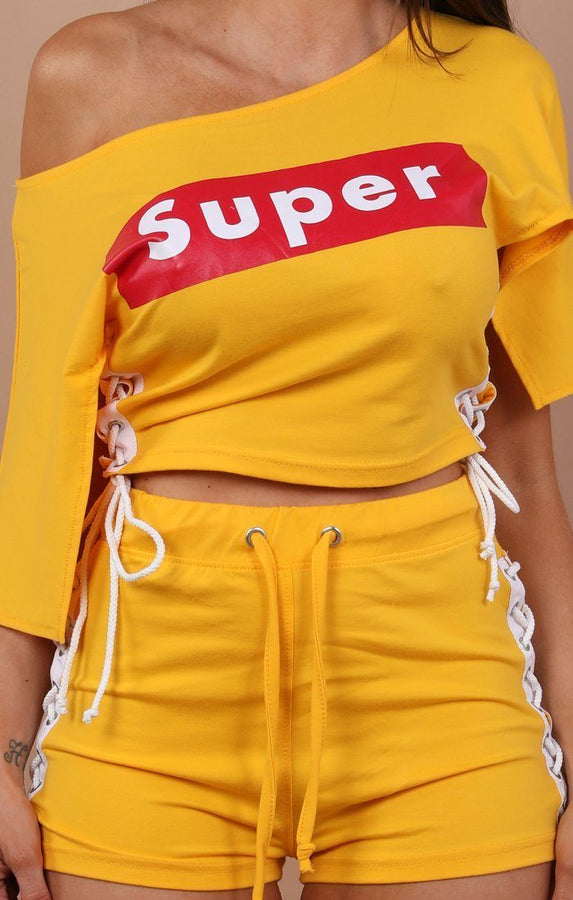 Lace Up Super Two Piece Co-ord Set - Sunny