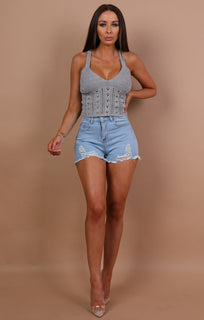 Grey Knitted Cross Over Crop Top - Amy
