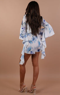 Blue Floral Bell Sleeve Playsuit – Eva