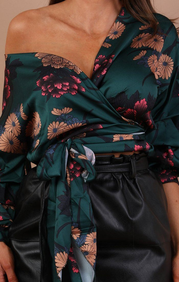 Green Floral Satin Ruched Sleeves Wrap Top – Kelly