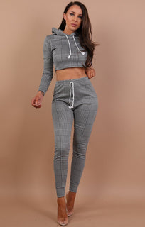 Hound's-tooth Cropped Loungewear Set - Marnie