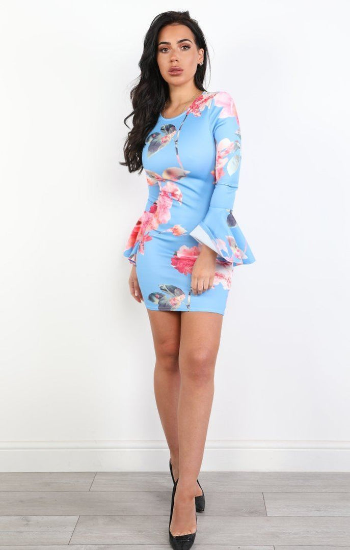 Blue Floral Bodycon Mini Dress - Denise